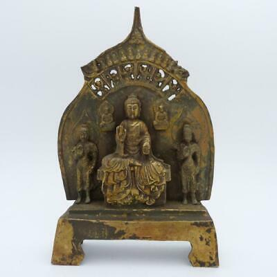 Chinese Gilt Metal Buddha Group Seated In Front Of Stele