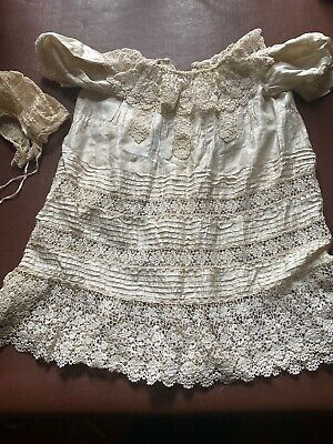 Vintage Antique Silk Babies Christening Gown Dress Handmade Lace
