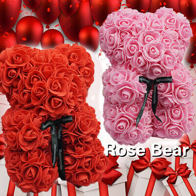 25cm Rose Flower Bear Toys Teddy Birthday Valentine Wedding Anniversary Gift HOT
