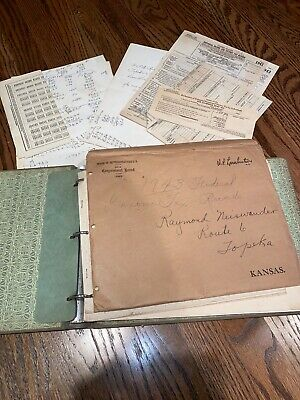 Super Rare 1943 Farm Record Book, Everything In It. Income Tax, Receipts, Income