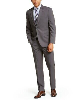 $495 Nautica Solid Modern-Fit Suit 38R / 32 x 32 Grey Flat Pant