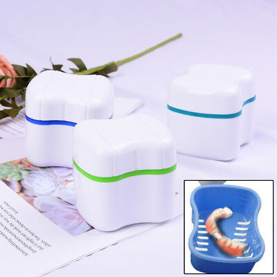 Denture False Teeth Box Bath Appliance Storage Case Rinsing Basket ContaineULCW