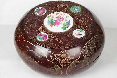 Large Antique Chinese Lacquer Famille Rose Porcelain and Gilt Handpainted Box