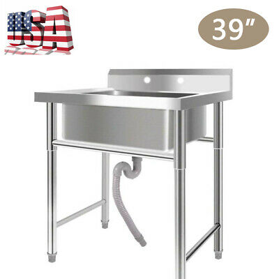 """39"""" Stainless Steel Utility Square Commercial Kitchen Sink for Washing Room USA"""