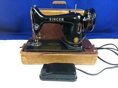 Vintage Singer 99k Portable Sewing Machine CAT BZ 15-8  AV-52-30-24 w Foot Pedal