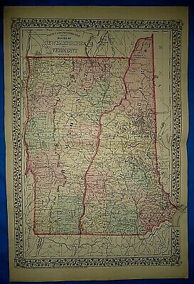 Vintage 1878 MAP ~ NEW HAMPSHIRE - VERMONT Old Antique Original Atlas Map
