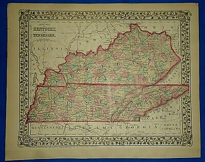 Vintage 1878 MAP KENTUCKY - TENNESSEE Old Antique Original Atlas Map