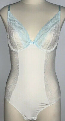 Gilligan & O'malley~Sexy~White/Blue~Lace~Pin Dot~1 Pc Bodysuit~M