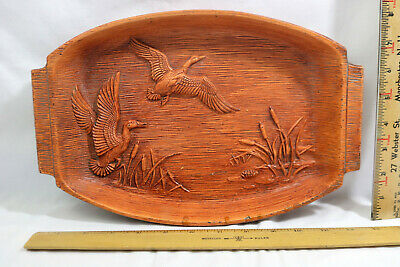 Vintage 1959 Multi Products Prod Inc Faux Wood Tray Ducks & Cattails - ID0221