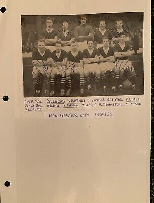 Signed 1950s X7 Manchester City FC Team Group ++ Football Autographs Dave Ewing