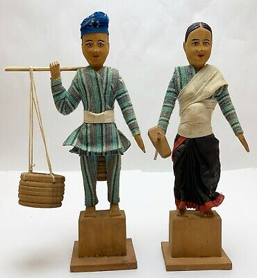 Vtg Pair Hand-Carved Wooden Wood Cloth Dressed Couple Figures Woman Man Folk Art