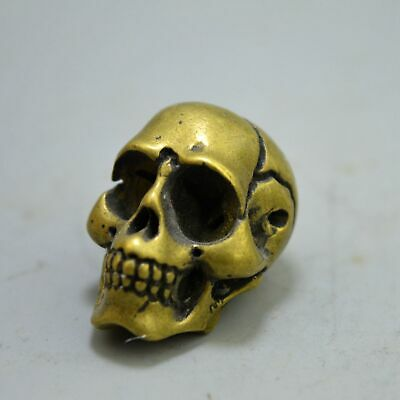 Ancient China Collectable Handwork Copper Carve Ghost Skull Head Exorcism Statue