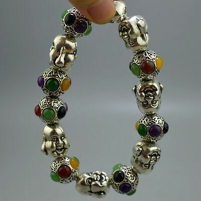 Collectable Handwork Decor Old Miao Silver Carve Buddha & Bead Noble Bracelet
