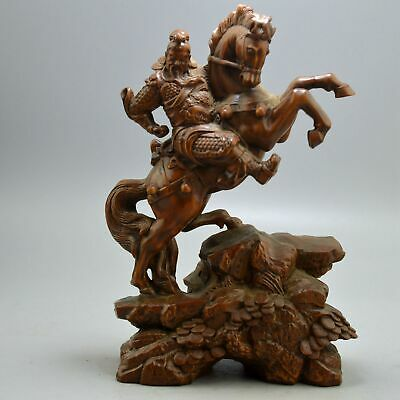 Old Collectable Handwork Boxwood Carve Dragon Robe Warrior Ride War Horse Statue