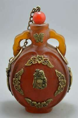 Ancient Collectable Handwork Amber Inlay Flower Buddha Exorcism Snuff Bottle