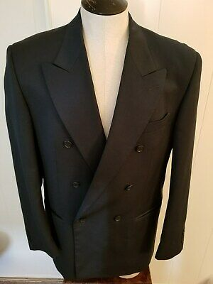 Vito Rufolo Mens Navy Double Breasted Super 100 Blazer Jacket Size 42 Long ITaly