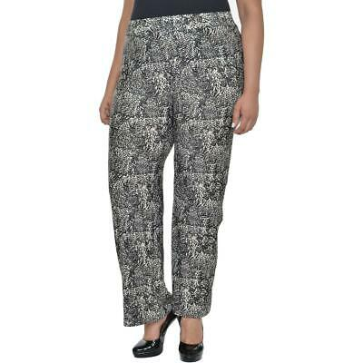 NY Collection Womens Black-Ivory Print Pull On Wide Leg Pants Plus 2X BHFO 8100