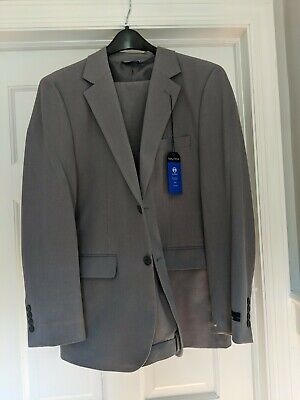 Nautica Men's 38R Grey Bi-stretch  Fit 2 Piece Suit Jacket Blazer Coat Pants