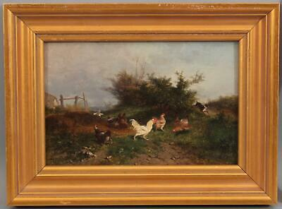 Antique Theophile-Victor-Emile Lemmens French Country Farm CHICKENS Oil Painting