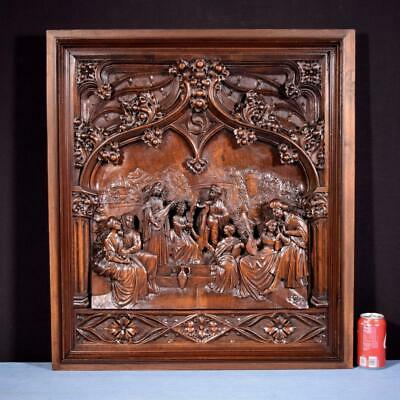 """*30"""" Tall French Antique Deeply Carved Gothic Panel in Solid Walnut Wood Salvage"""