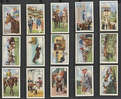 Gallaher Ltd, Racing Scenes, cigarette cards numbers 34-48 of the set of 48, vf