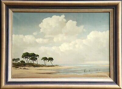 Pierre De Clausade (1910-1976) Large Signed French Oil - Estuary Of The Loire