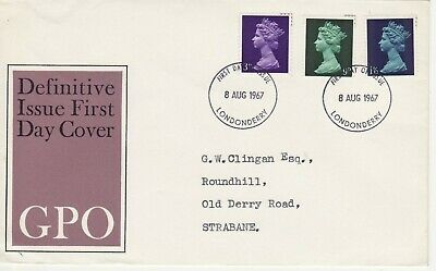 GB Stamps First Day Cover Machin Definitives Three Low Values FDC Londondery1967