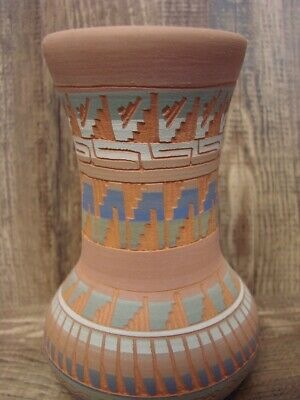 Native American Indian Hand Etched Vase by Mirelle Gilmore