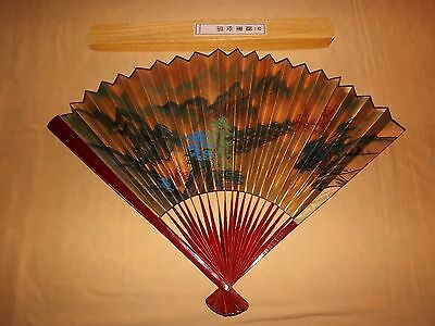 "Vintage Large 24"" Asian Chinese Hand Fan"