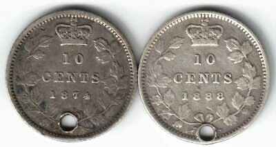 2 X Canada Ten Cent Dimes Queen Victoria Sterling Silver Coins 1874H 1888 Holed
