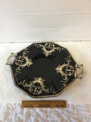 Magnificent VTG Sterling Silver Overlay Black Glass Serving Platter Cake Plate