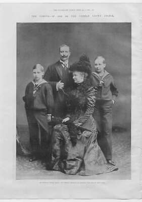 Original Old Antique Print Portrait German Crown Prince & Family 1900 Victorian