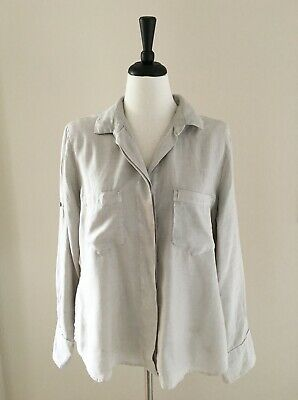 Cloth Stone Sz L Split-Back Shirt Taupe Oyster Beige Buttons Women Anthropologie