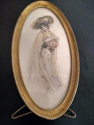 Antique late 19th-early 20th century watercolor young woman