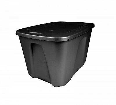 8 Large Tote Box 18 Gallon Stackable Storage Bin Container Plastic Lid Black NEW