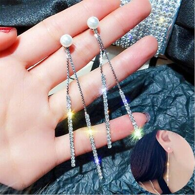 Earrings Long Tassel Wedding Drop Crystal Dangle Pearl Rhinestone Jewelry