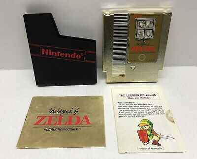The Legend of Zelda (NES 1987) REV A Gold Cart Cartridge, Manual, Map (READ)