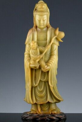 SUPERBLY CARVED ANTIQUE CHINESE YELLOW SOAPSTONE GUANYIN w CHILD LOTUS FIGURE
