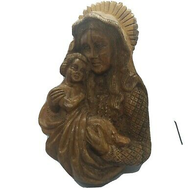 Vintage Hand Carved Wooden WALL PLAQUE MADONNA AND CHILD Folk Art