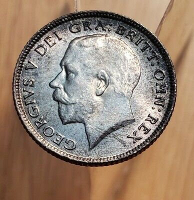 1914 (Gem-UNC) Great Britain King George V  6 Pence World Silver Coin