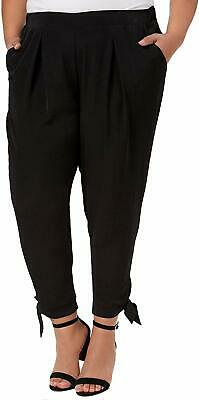 NY Collection Women's Black Size 3XP Plus Tie Bottom Pants Stretch $59 #286