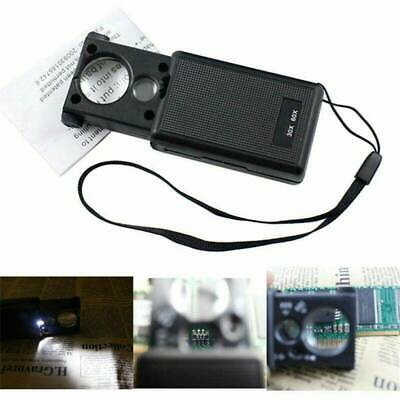 30x 60x 90x LED UV Lighted Magnifier Jewelers Loupe Loop Magnifying Glass UK