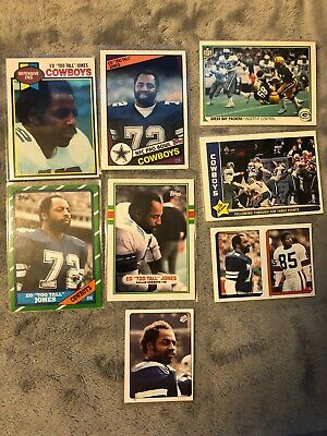 "(8) ED ""TOO TALL"" JONES - All Different Card Lot - 1979 to 1989 - COWBOYS DE"