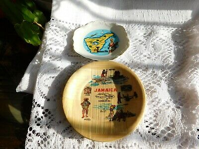 2 Vintage Collectable Mini Plates Bamboo Weave Jamaica + Gilded China Tenerife