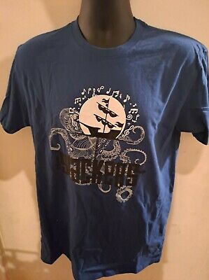 The SLACKERS brand new T-shirt BOAT LOGO on bright blue Small + Medium + Large