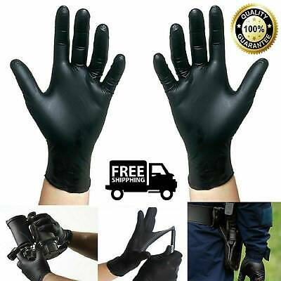 100Pcs Rubber Comfortable Disposable Mechanic Nitrile Gloves Black Medical Exam