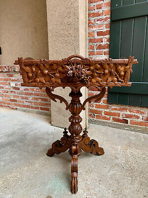 Antique French Carved Oak Black Forest Style Plant Stand Jardinière Flower Box