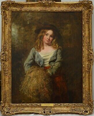 Fine Antique 19th Century Portrait Of A Flower Girl Oil On Canvas Painting FRITH