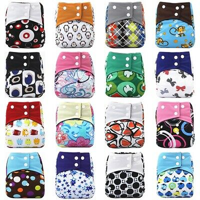 Reusable Cloth Nappy Bamboo Charcoal Lining Baby Pocket Diaper Adjustable New