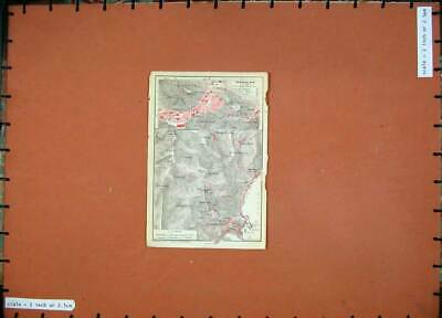 Old Antique Print 1912 Colour Map Italy Street Plan Taormina Monte Tauro 20th